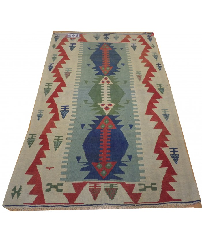 Handmade Turkish Kayseri Nomadic Original  Wool on Wool Kilim – FREE SHIPPING..!