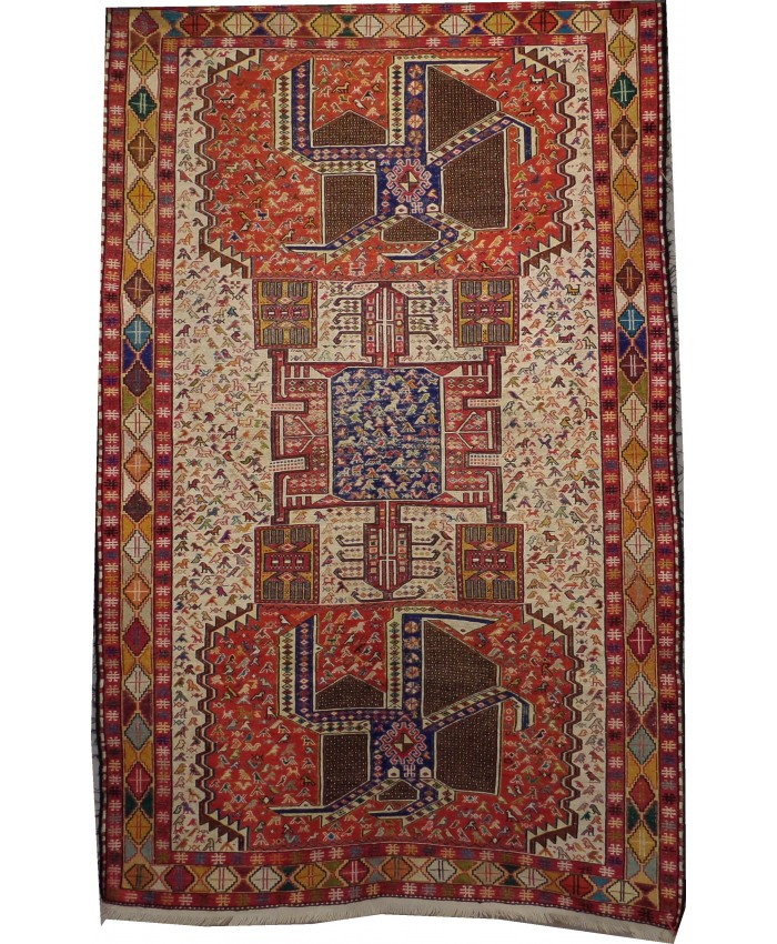 Handmade Hakkari Sumak Original Silk On Cotton Kilim – FREE SHIPPING..!